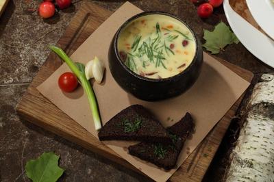 Суп сырный с копченостями