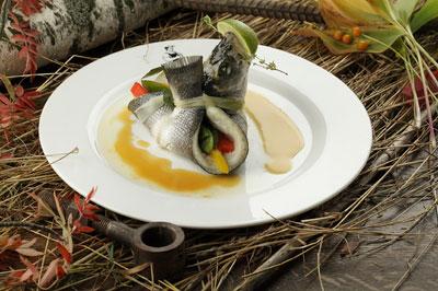 Сибас на пару с овощами