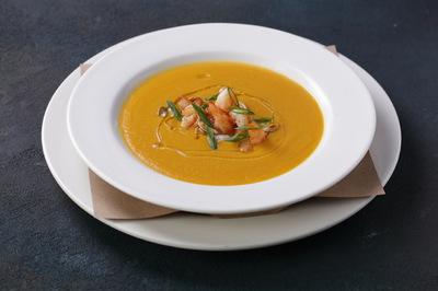 Суп крем из тыквы с креветками